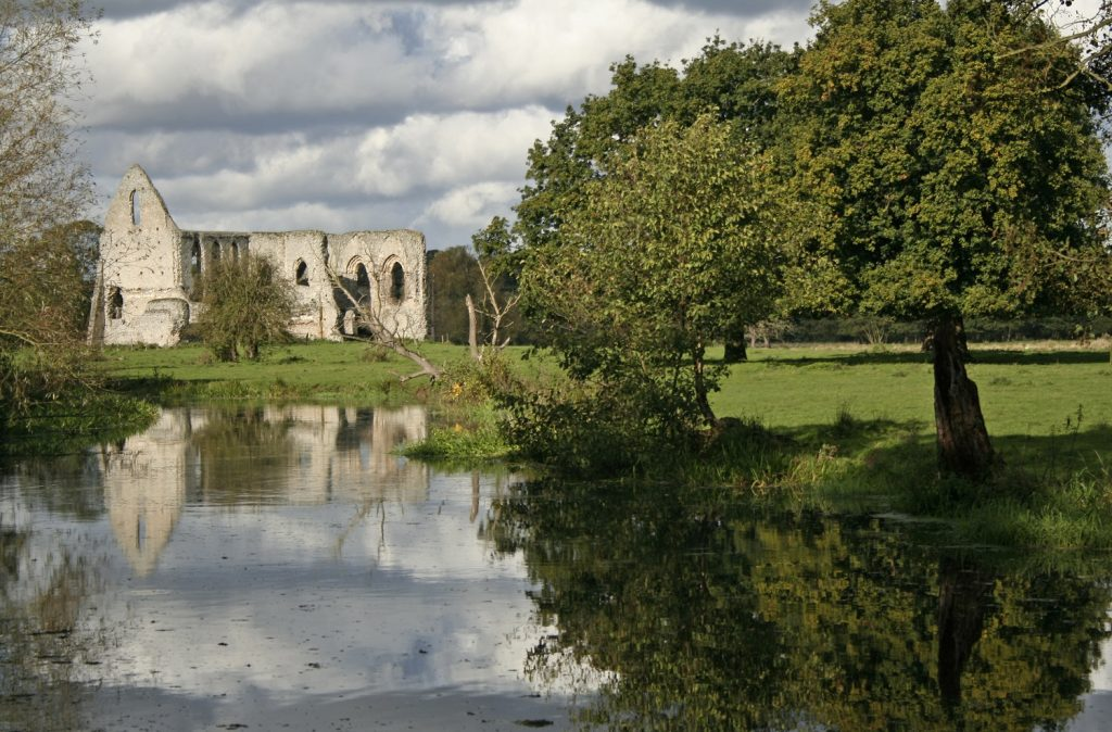 ruins of abbey beside river wey in surrey england