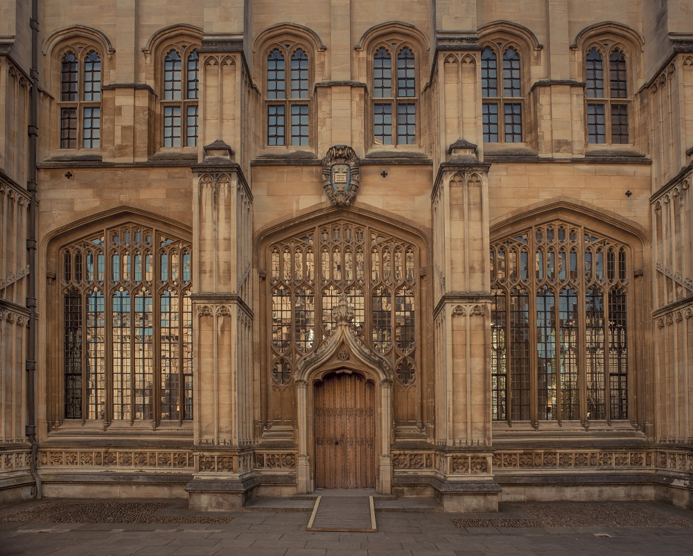 Gothic windows at the Bodleian library in Oxford, England