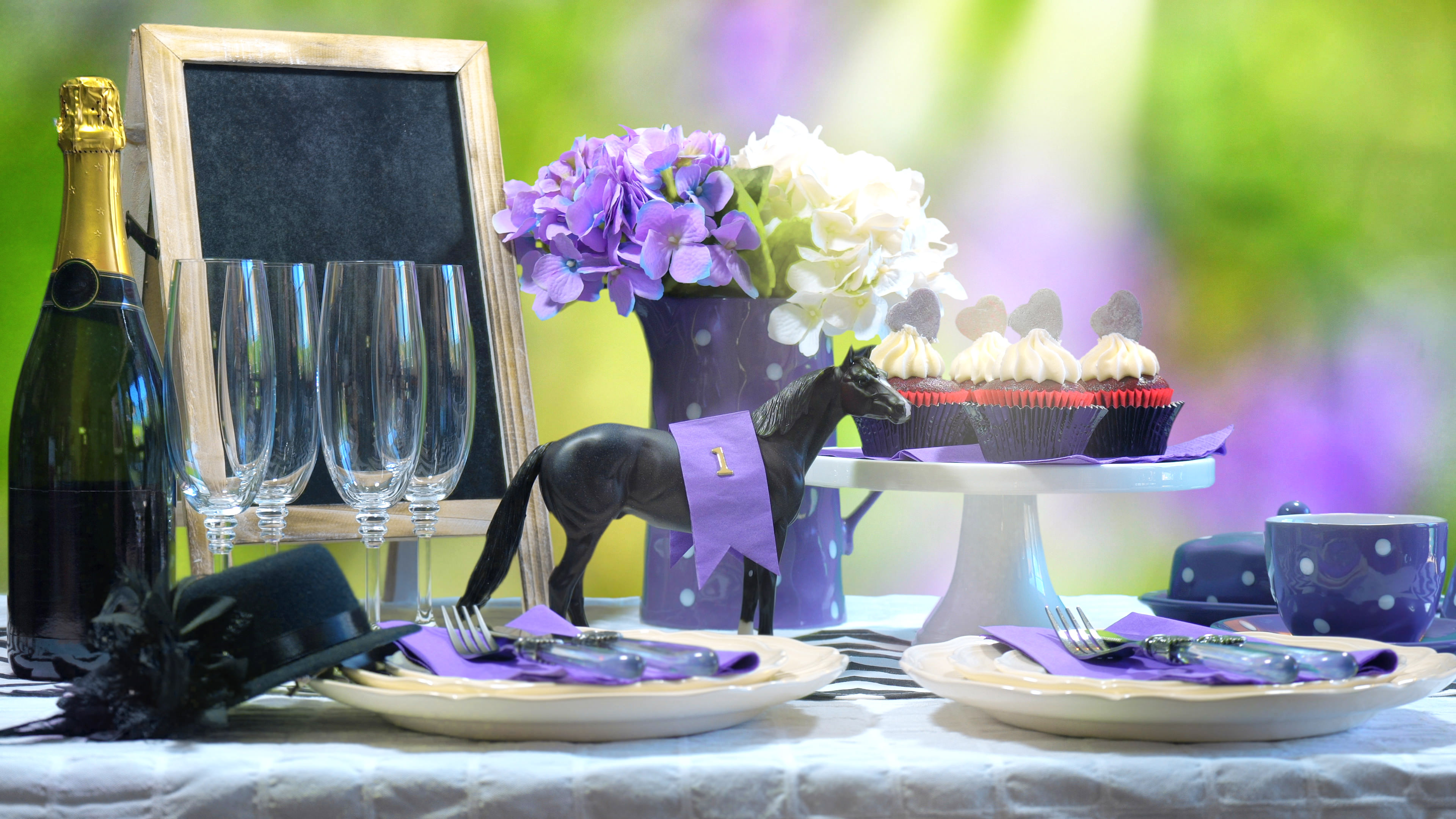 Chauffeur car hire in Ascot - Horse racing Luncheon table setting